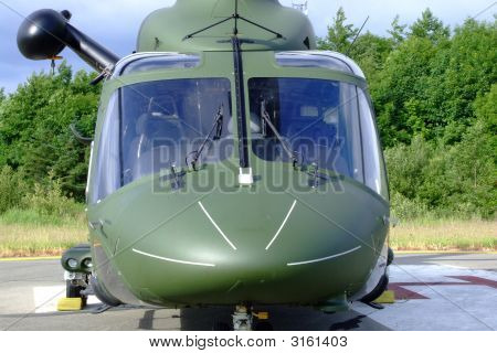 Helicopter Close Up Of Windscreen And Winch