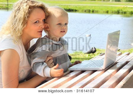Mother And Child With Laptop