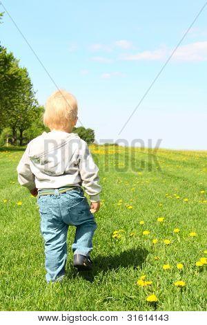 Child Walking On Green Field