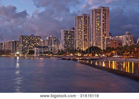 Waikiki Beach, Oahu Island Hawaii, Cityscape Sunset