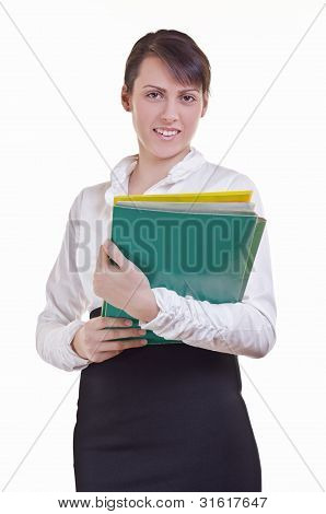Office Assistant Hoding File Folder