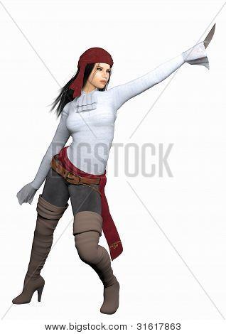 Female Pirate White Background