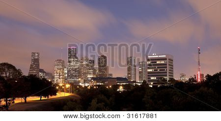 Horizonte de Houston en la noche, Texas