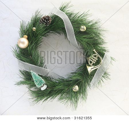 Christmas wreath with bells and ornaments