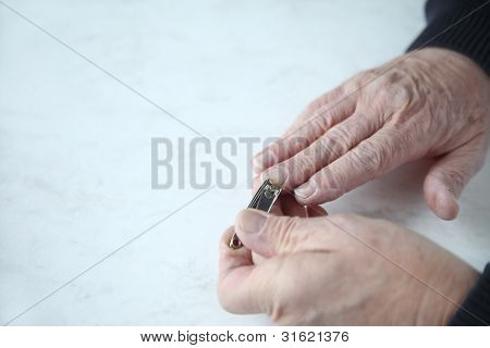nail clipping with copy space