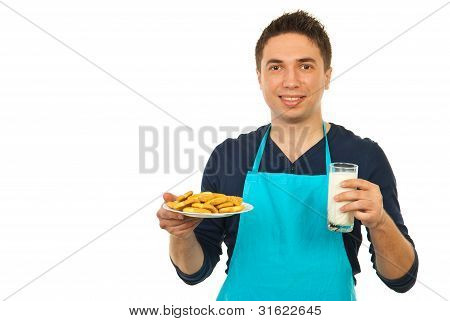 Happy Man Holding Milk And Biscuits