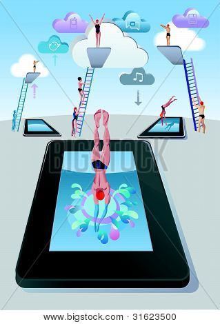 Springboard Dive Man Digital Tablet