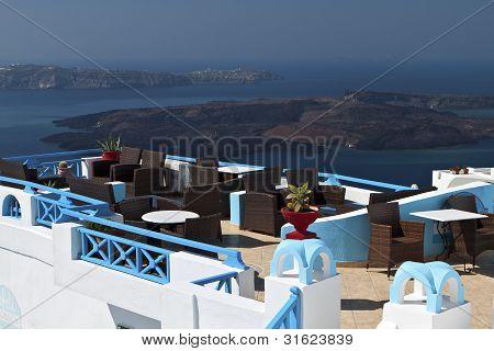 Lounge bar at Santorini island in Greece
