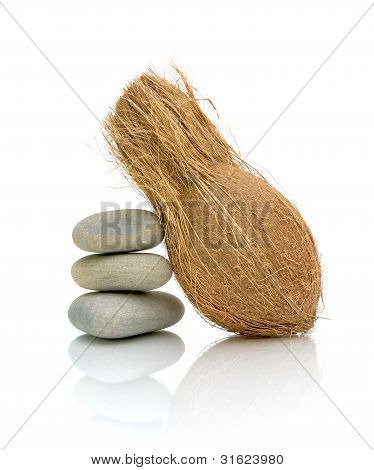 Coconut And Sea Stones On A White Background
