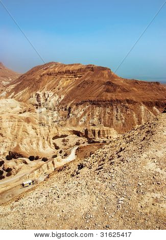 Judean Desert Near The Shore Of The Dead Sea.