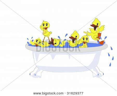 Duckies playing in a tub