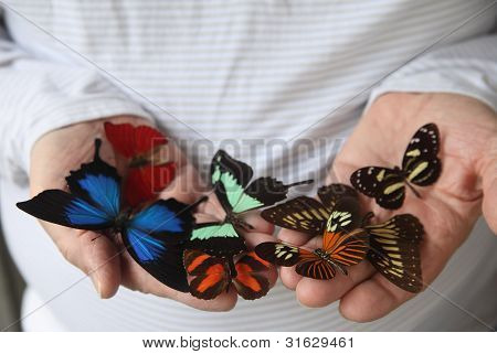 many butterflies on a man's hands