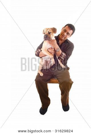 Man With Dog On Lap.