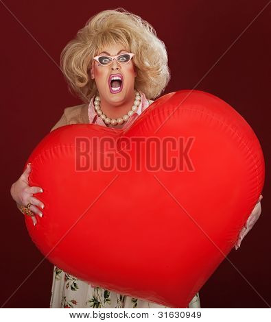 Drag Queen With Huge Balloon