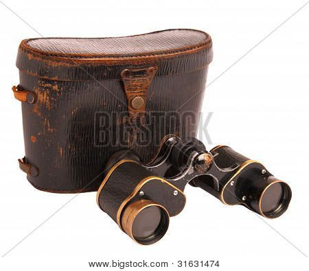 Old Binoculars And Leather Case Isolated On White