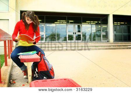 Adolescente estudando