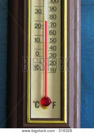 Thermometer Closeup im Komfort-Bereich