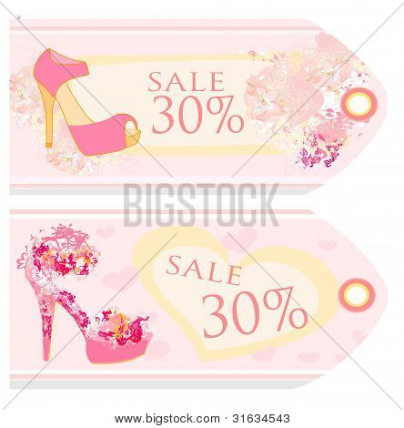 Price Tags With shoes vintage set