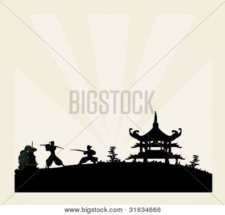 Samurai silhouette in Asian Landscape