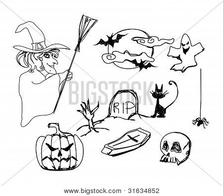 Set with halloween doodles