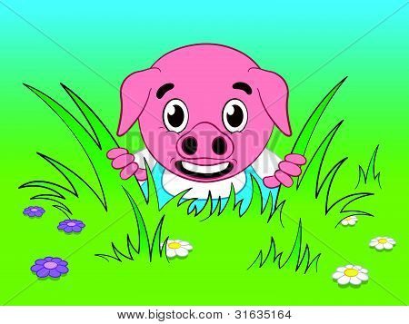 Cute pig cartoon looking through the grass