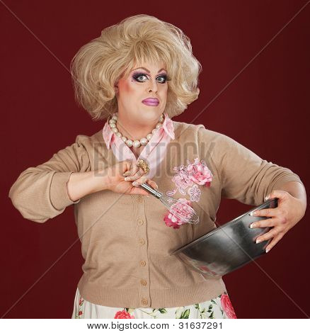 Drag Queen With Bowl And Whisk