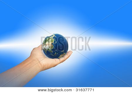 The earth in blue background