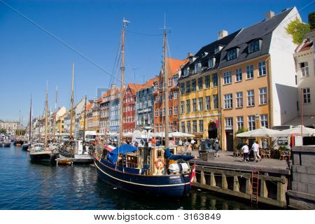 Nyhavn Street And Chanel In Copenhagen