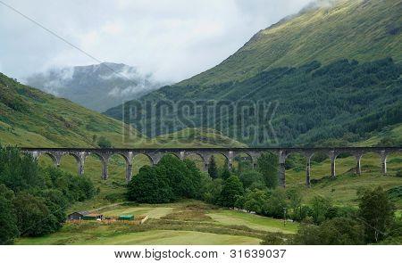 Glenfinnan Viaduct At Summer Time