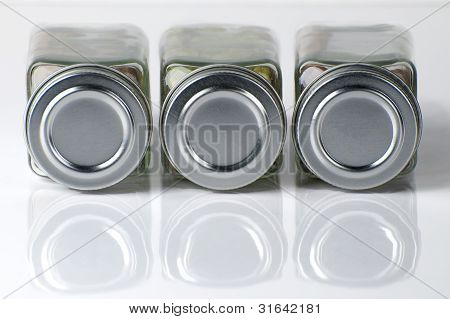 Reflected Spice Bottles