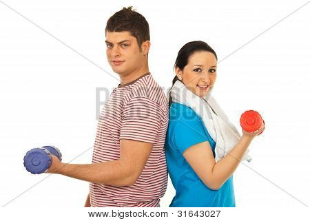 Cheerful Couple Doing Exercises
