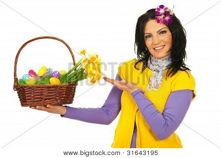 Spring Woman Showing Easter Basket