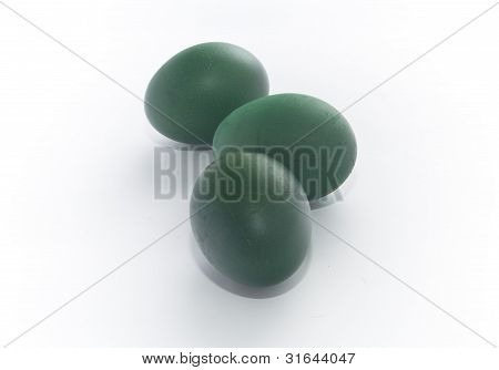 Three Green Painted Eggs Easter