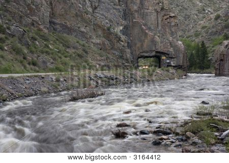 Scenic Route In A Mountain River Canyon
