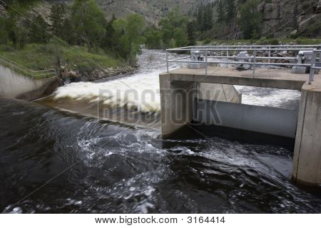 Water Diversion Dam On A Mountain River