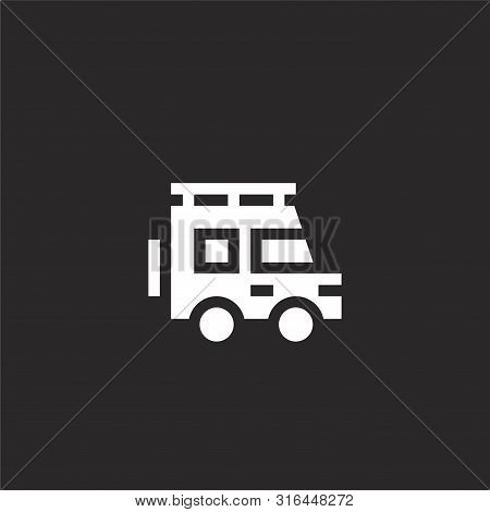poster of Car Icon. Car Icon Vector Flat Illustration For Graphic And Web Design Isolated On Black Background