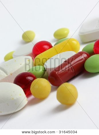 Medicines In Different Colors And Shapes