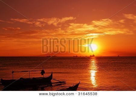 fishingboat and sunset