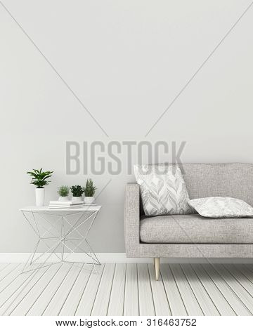 poster of Empty Room With Sofa And Table.empty Space In House. Scandinavian Interior Design. -3d Rendering