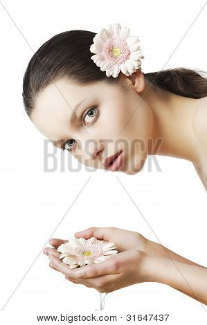 Natural Beauty Portrait Woman With Flower In The Hands