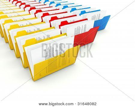 Rows of folders