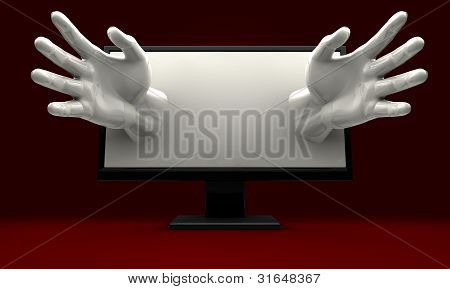 Hands Reaching Out Of Computer Monitor