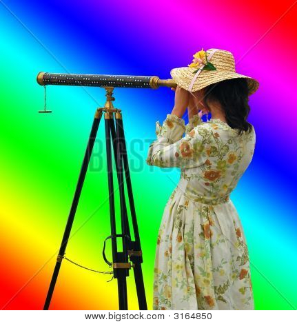 Girl With Telescope  Rainbow Colors