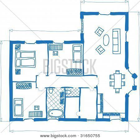 Grundriss des Hauses, Doodle-Stil