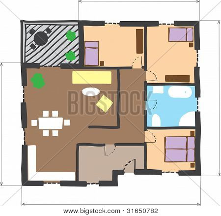 Floor Plan Of House, Colored Doodle Style