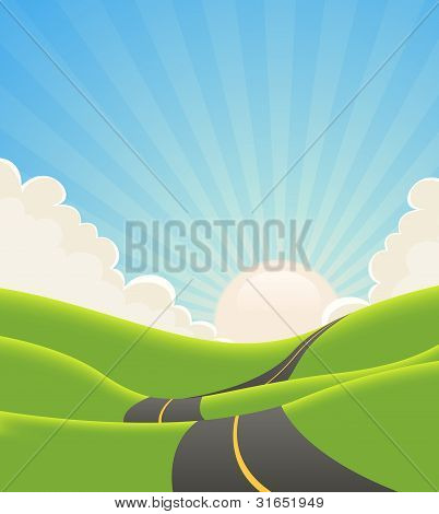 Blue Summer Landscape Road