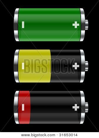 Colorful Battery Icons. Vector Illustration