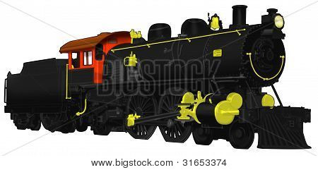 1800s Steam Locomotive Illustration isolated on white