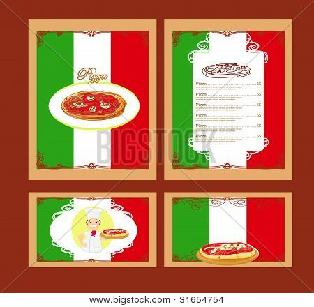 Template designs of menu pizza and restaurant with chef