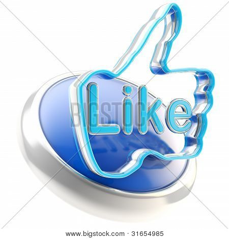 Glossy like button symbol isolated